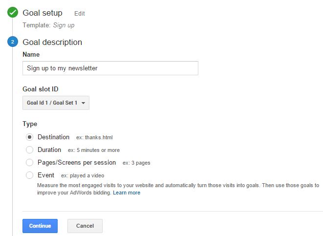 google analytics goal name
